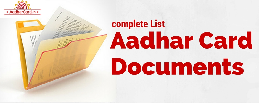 Documents required To Update Aadhar Card